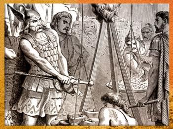 D'après le chef gaulois Brennus posant son épée sur la balance, détail, Histoire de France en cent tableaux, Paul Lehugeur, 1886, XIXe siècle. (Marsailly/Blogostelle)