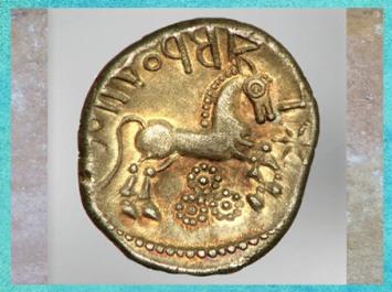 D'après un cheval astres-étoiles, statère des Suessions, région de Soissons, Picardie, Ier siècle avjc, Gaule celtique. (Marsailly/Blogostelle)