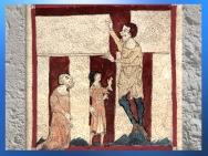 D'après Merlin, aidé par un géant, élévation de Stonehenge, manuscrit du Roman de Brut, Wace, XIIe siècle, art médiéval. (Marsailly/Blogostelle)