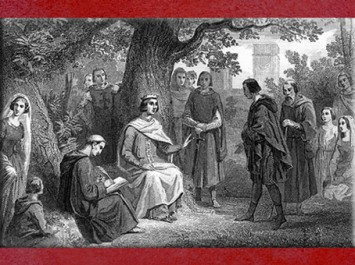 D'après le roi de France Saint Louis rendant la justice sous un chêne, à Vincennes, gravure du XIXe siècle. (Marsailly/Blogostelle)