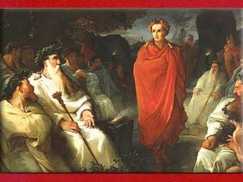 D'après César qui traite avec les druides, Campagnes des Gaules, de Hippolyte Debon,  1867, XIXe siècle.  (Marsailly/Blogostelle)