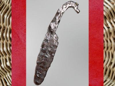 D'après un couteau en fer, à tête de cheval, Gaule celtique, âge du Fer, art Celte. (Marsailly/Blogostelle)