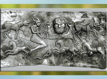 D'après un dieu barbu et roue, chaudron de Gundestrup, métal, or et argent, Ier siècle avjc, Danemark, art celte, âge du Fer. (Marsailly/Blogostelle)