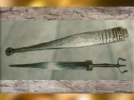 D'après l'épée et son fourreau, tombe celte de Hochdorf, Stuttgart, Allemagne, Premier âge du Fer. (Marsailly/Blogostelle)