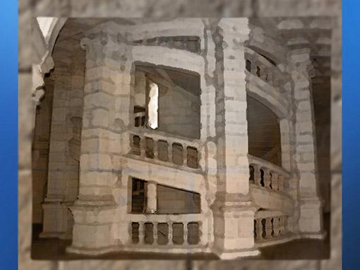 D'après l'escalier à double spirale du château de Chambord, XVIe siècle, Renaissance, France. (Marsailly/Blogostelle)