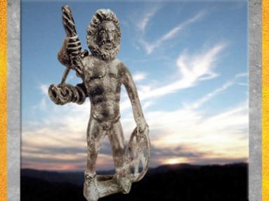 D'après Taranis-Jupiter, porteur de la roue, du foudre et de la corde, bronze, Ier siècle apjc, France, Gaule Romaine (Marsailly/Blogostelle)