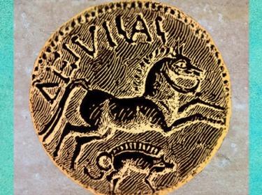 D'après le statère de Diviciacus, roi des Suessions, cheval et sanglier, Ier siècle avjc, région de Soissons, Gaule celtique. (Marsailly/Blogostelle)