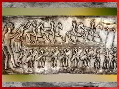 D'après des guerriers, chaudron de Gundestrup, métal or et argent, Ier siècle avjc, âge du Fer, Danemark, art Celte. (Marsailly/Blogostelle)