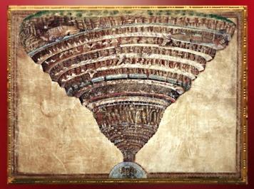 D'après le cône spiralé de l'Enfer, Divine Comédie, Sandro Botticelli, 1480-1495 apjc, Renaissance Italienne. (Marsailly/Blogostelle)