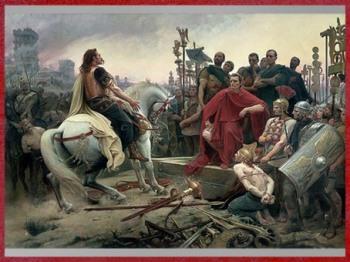 D'après Vercingétorix, qui jette ses armes aux pieds de César, tableau de Lionel Royer, 1899, XIXe siècle. (Marsailly/Blogostelle)