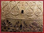 D'après le casque d'Agris, rinceaux, or et corail, thème végétal, IVe siècle avjc, La Tène, Charente, Gaule celtique, âge du Fer. (Marsailly/Blogostelle)