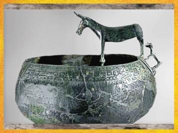 D'après un bassin et animaux, bronze, VIIIe-Ve siècle avjc, période de Hallstatt, premier âge du Fer. (Marsailly/Blogostelle)