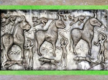 D'après des bovidés, chaudron de Gundestrup, métal or et argent, Ier siècle avjc, âge du Fer, Danemark, art celte. (Marsailly/Blogostelle)
