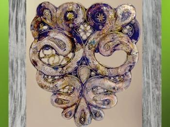 D'après le casque d'Agris, serpents-béliers, fer, or et corail, IVe siècle avjc, La Tène, Charente, Gaule celtique, âge du Fer. (Marsailly/Blogostelle)