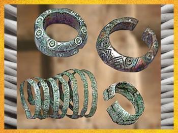 D'après des anneaux de chevilles et des bracelets, bronze, mobilier funéraire, âge du Fer. (Marsailly/Blogostelle)