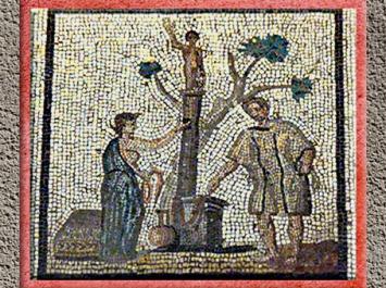 D'après une scène de culte du dieu Taranis, sacrifice, mosaïque, Saint-Romain-en-Gal, IIIe siècle apjc, Gaule Romaine. (Marsailly/Blogostelle)