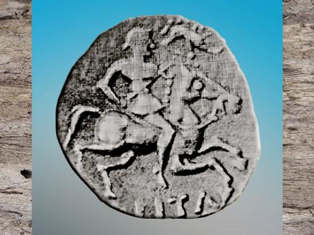 D'après un cavalier portant une enseigne-sanglier, statère gaulois, La Tène, âge du Fer. (Marsailly/Blogostelle)
