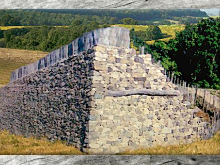 D'après le Murus Gallicus de l'oppidum de Bibracte, autour du Ier siècle avjc, La Tène, Gaule celtique. (Marsailly/Blogostelle)
