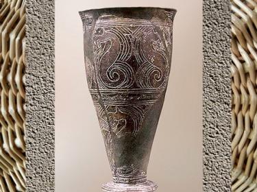 D'après des dragons, vase gravé, céramique, Ve siècle avjc, La Tène, Gaule Celtique, âge du Fer. (Marsailly/Blogostelle)