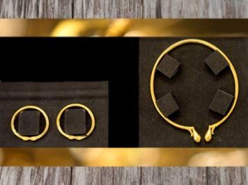 D'après le torque celtique et les bracelets en or, tombe celte de Lavau, début Ve siècle apjc, fin Hallstatt-La Tène, âge du Fer. (Marsailly/Blogostelle)