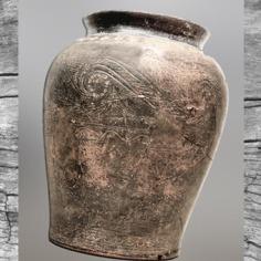 D'après un vase en céramique, décor incisé et estampé, Plouhinec, Finistère, Bretagne, vers 375-325 avjc, La Tène, Gaule Celtique. (Marsailly/Blogostelle)