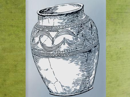 D'après un dessin de vase incisé et estampé, céramique de Glastonbury, d'A. Bulleid et H. St John Gray (1911), Royaume-Unis, art Celte. (Marsailly/Blogostelle)