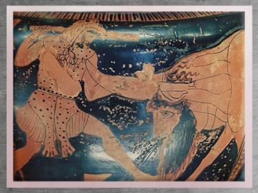 D'après le combat d'Achéloos et Héraclès pour la main de Déjanire, cratère attique, vers 450 avjc, Grèce antique. (Marsailly/Blogostelle)