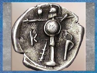 D'après un trophée, monnaie grecque d'Héraclée du Pont, argent, Bithynie, IVe siècle avjc. (Marsailly/Blogostelle)