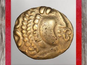 D'après un statère celte, visage et signes, Ier siècle avjc, Autun, peuple Eduens, La Tène, Gaule celtique. (Marsailly/Blogostelle)