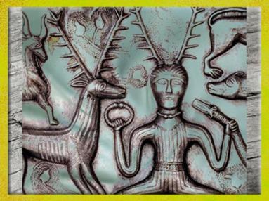 D'après le dieu cornu, coiffe bois de cerf, chaudron de Gundestrup, métal, Ier siècle avjc, Danemark, art celte, (Marsailly/Blogostelle)