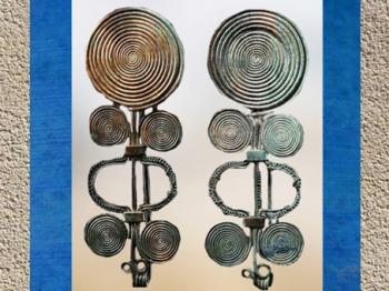 D'après des fibules spiralées en bronze, début Xe siècle avjc, fin âge du Bronze, style celtique. (Marsailly/Blogostelle)