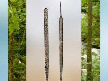 D'après une épée et fourreau, dépôt votif, lac de Neuchâtel, Suisse, La Tène, âge du Fer, art Celte. (Marsailly/Blogostelle)