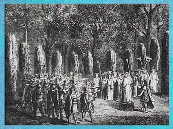 D'après un rassemblement de druides, avec des hampes à sanglier, emblème du dieu Lug. (Marsailly/Blogostelle)
