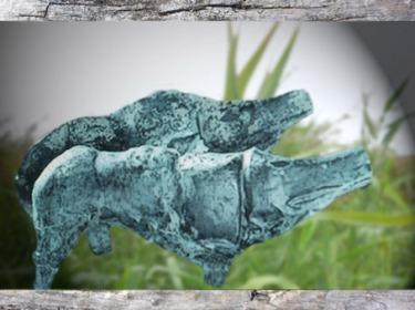 D'après un sanglier, bronze, symbole de souveraineté et emblème du dieu Lug, La Tène, art Celte, âge du Fer. (Marsailly/Blogostelle