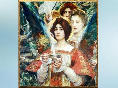 D'après L'âme de la Forêt, Edgar Maxence, peintre symboliste, 1898 apjc, XIXe siècle. (Marsailly/Blogostelle)