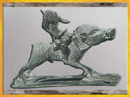 D'après une enseigne guerrière, sanglier et Diane Chasseresse, bronze, Ier siècle avjc-Ier siècle apjc, La Tène, Gaule Romaine. (Marsailly/Blogostelle)
