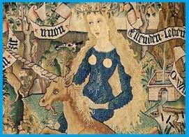 D'après la corne spiralée de la Licorne, vers  1500–1510 apjc, panneau de coussin. (Marsailly/Blogostelle)