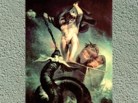 D'après La bataille de Thôrr et du serpent de Midgard, Johann Heinrich Füssli, fin XVIIIe siècle. (Marsailly/Blogostelle.)