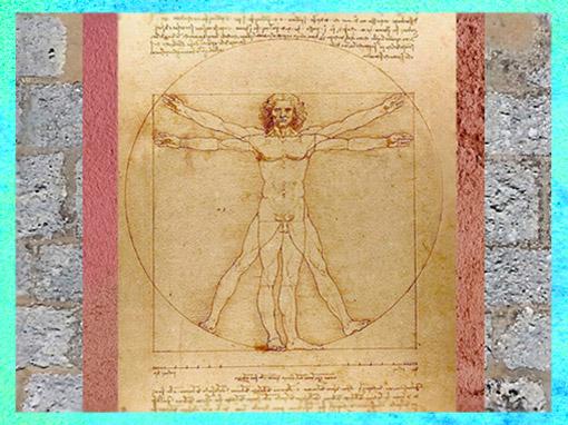 D'après Étude de proportions du corps humain selon Vitruve, Léonard de Vinci, dessin à la plume, XVIe siècle, Gallerie dell'Accademia, Venise, Italie. (Marsailly/Blogostelle)
