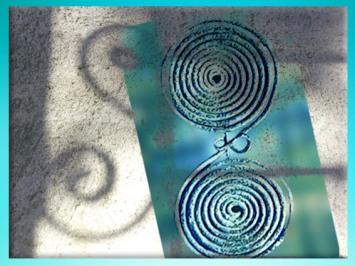 D'après des fibules de l'art celte, double spirale, premier âge du Fer. (Marsailly/Blogostelle)