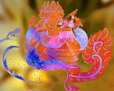 D'après le dieu suprême Brâhman et la déesse du Savoir et de la Musique, Sarasvatî, Inde ancienne.(Marsailly/Blogostelle)