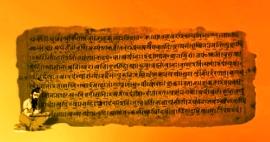 D'après un extrait des textes du Rig Veda, rédigé en sanskrit, entre 1500 ans avjc et 800 ans avjc. (Marsailly/Blogostelle.)