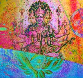 D'après le thème de l'Artisan Universel. Tvastri, l'artisan divin, façonne les formes... Vishvakarma comme Brâhmaçarin, Architectes de l'Univers, élaborent le plan cosmique... (Illustration Marsailly/Blogostelle.)