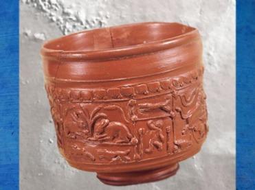 D'après une céramique sigillée, scène bucolique et lapins, vers 50 avjc-100 apjc, Clermont-Ferrand, Gaule Romaine. (Marsailly/Blogostelle)