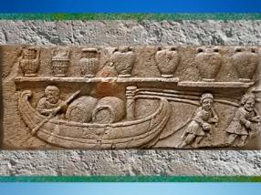 D'après les Haleurs de la Durance, stèle funéraire, Ier siècle apjc, Cabrières-d'Aigues, Vaucluse, Gaule Romaine. (Marsailly/Blogostelle)