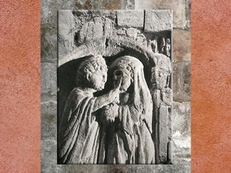 D'après les soins chez l'oculiste, détail, bas-relief sur pilier, Montiers-sur-Saulx, Meuse, Gaule Romaine. (Marsailly/Blogostelle)