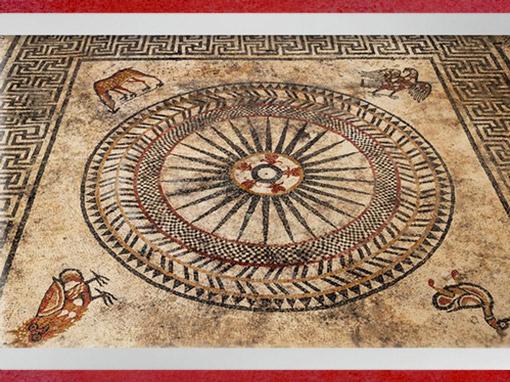 D'après la mosaïque d'Uzès, roue et animaux, Ier siècle avjc, Gard, Gaule Romaine. (Marsailly/Blogostelle)