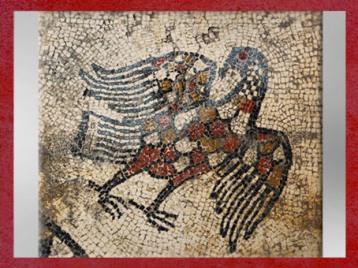 D'après le motif de l'aigle, mosaïque, Ier siècle avjc, Uzès, antique Ucetia, Gard, Gaule Romaine. (Marsailly/Blogostelle