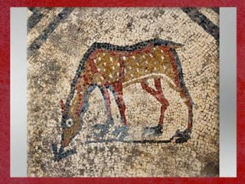 D'après le motif du faon, mosaïque, Ier siècle avjc, Uzès, antique Ucetia, Gard, Gaule Romaine. (Marsailly/Blogostelle)