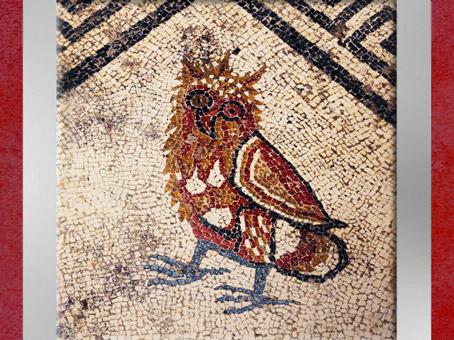 D'après le motif du hibou, mosaïque, Ier siècle avjc, Uzès, antique Ucetia, Gard, Gaule Romaine. (Marsailly/Blogostelle)